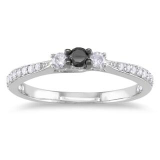 Miadora Sterling Silver 1/3ct TDW Black and White Diamond Ring