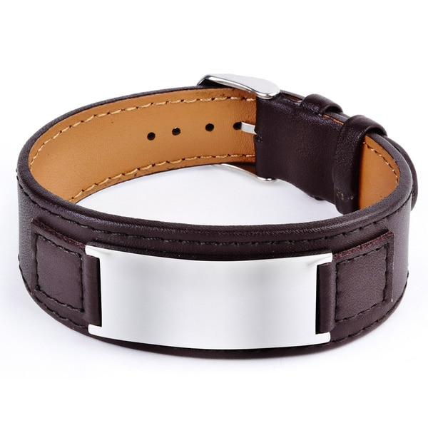 Crucible Stainless Steel and Leather Men's Engraveable Plate Bracelet