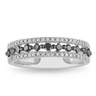 Miadora 10k White Gold 1/2ct TDW Black and White Prong-set Diamond Ring