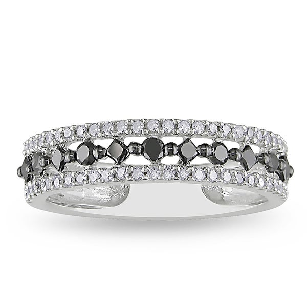 Miadora 10k White Gold 1/2ct TDW Black and White Prong-set Diamond Ring