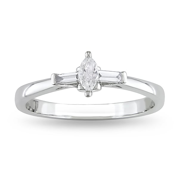 Miadora 10k White Gold 1/4ct TDW Diamond Promise Ring (G-H, I1-I2)