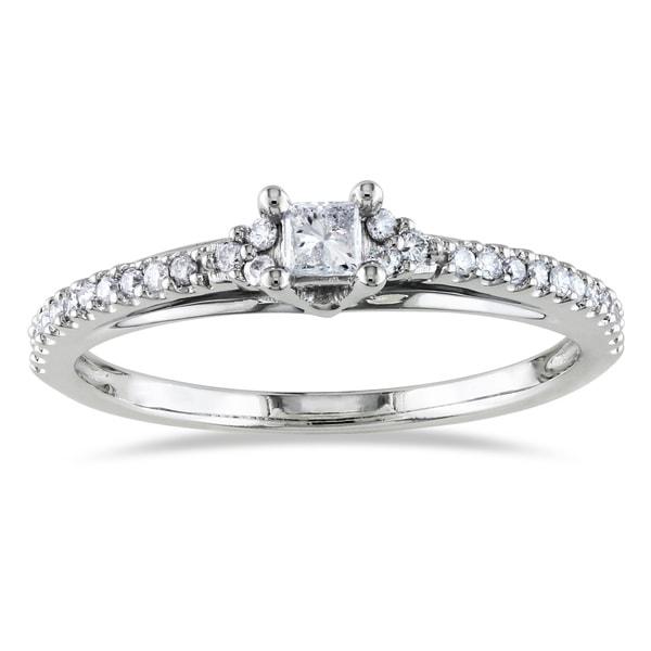 Miadora 14k White Gold 1/4ct TDW Princess Cut Diamond Ring