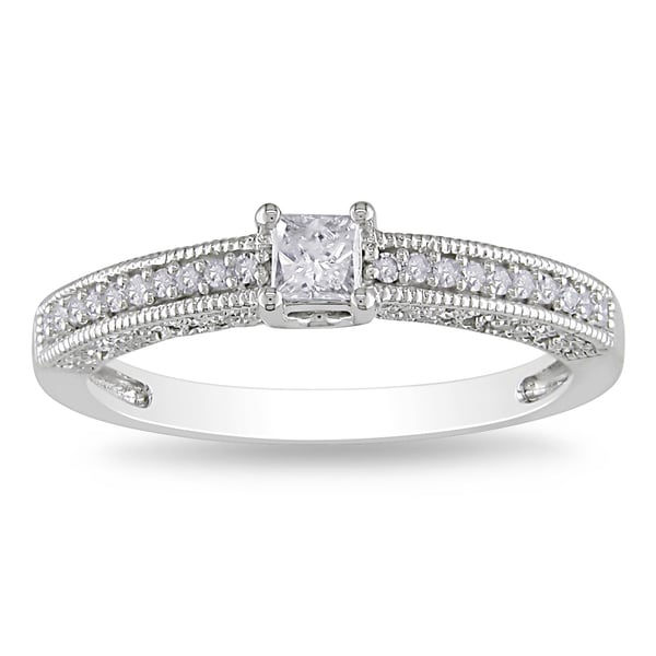 Miadora 14k White Gold 1/4ct TDW Diamond Engagement Ring