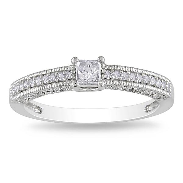 Miadora 14k White Gold 1/4ct TDW Diamond Engagement Ring (G-H, I1-2)
