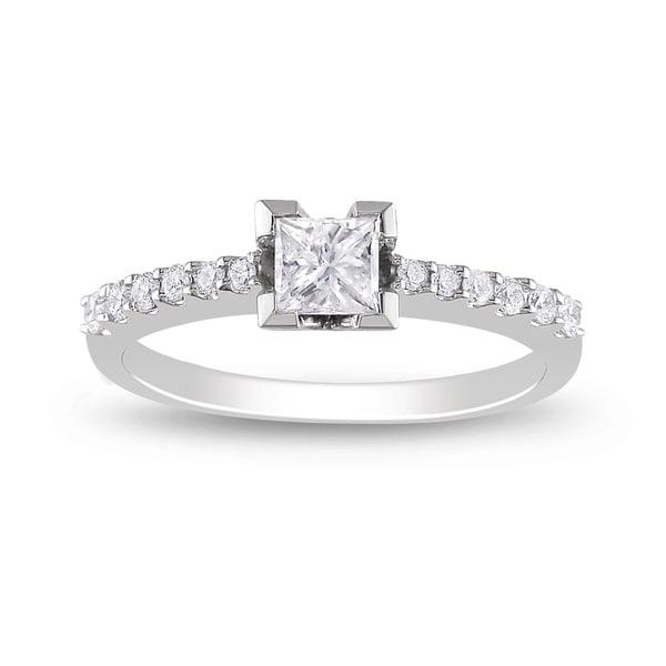 Miadora 14k White Gold 1/2ct TDW Prong-set Diamond Engagement Ring