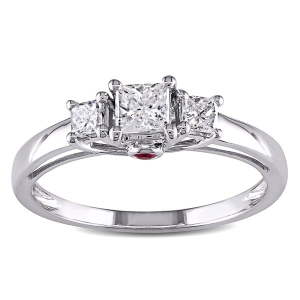 L'Amour En Rose by Miadora 14k White Gold 1/2ct TDW Diamond and Pink Sapphire Ring