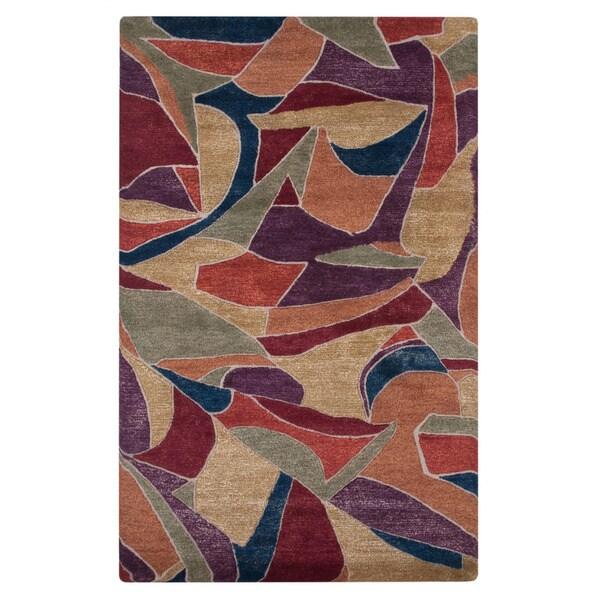 Hand-tufted Abstract Tulip Purple Wool Rug (2' x 3')