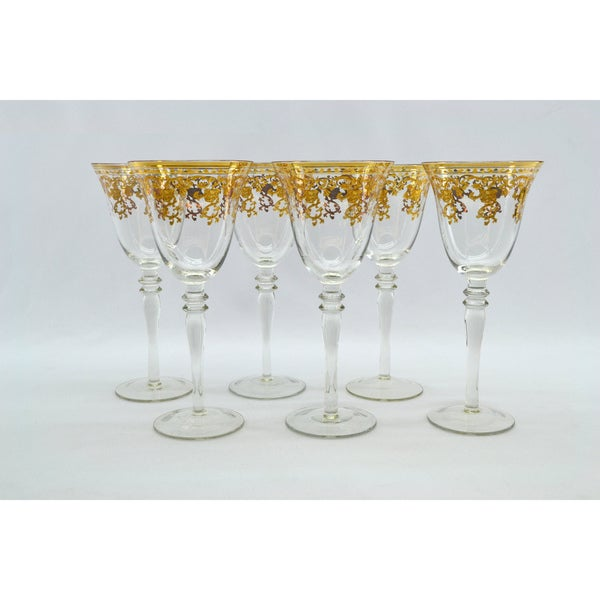 Three Star Gold Floral Wine Glass Set (Set of 6)