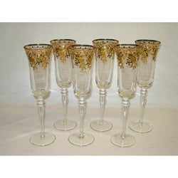 Three Star Gold Floral Champagne Glass (Set of 6)