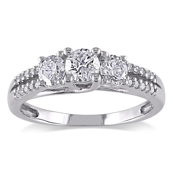 Miadora Signature Collection 10k White Gold 1ct TDW Diamond Three-stone Ring (H-I, I2-I3)
