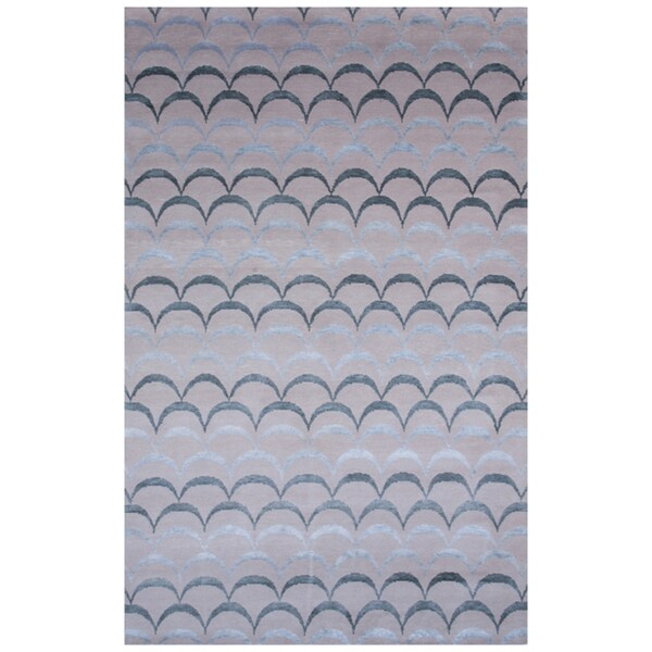 Indo-tibetan Abstract Cloud white Wool/ Silk Rug (5' x 8')