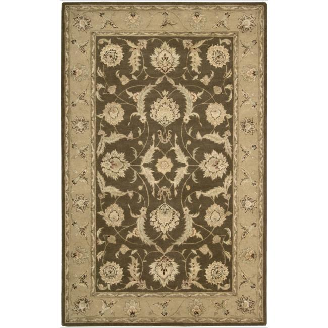Nourison 3000 Hand-tufted Brown Wool Rug (5'6 x 8'6)