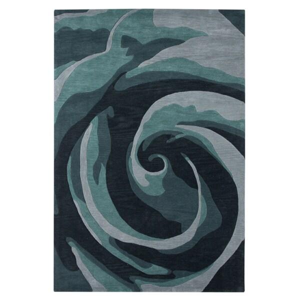 Hand-tufted Abstract Charcoal Slate Rug (5' x 7'6)