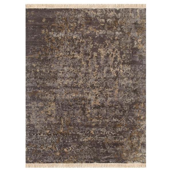 Hand-knotted Oriental Medium Gray Wool/ Silk Rug (8' x 10')