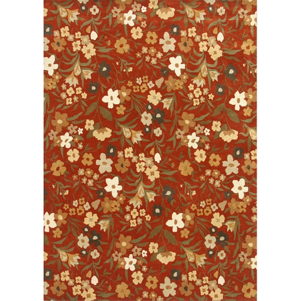 Hand-tufted Abstract Red Oxide Wool Rug (8' x 10')