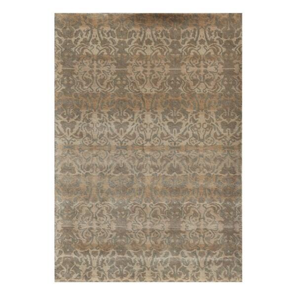 Hand-tufted Geometric Gold Wool Rug (6' x 9')