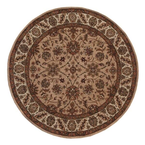 Hand-tufted Oriental Peach Wool/ Cotton Rug (8' Round)