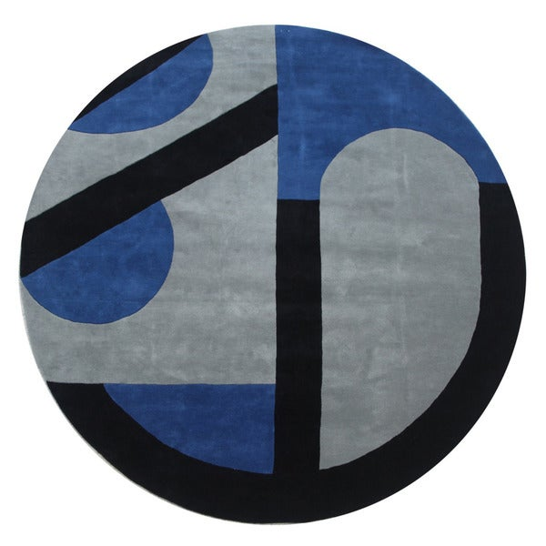 Hand-tufted Oriental Sea Blue Wool/ Cotton Rug (10' Round)