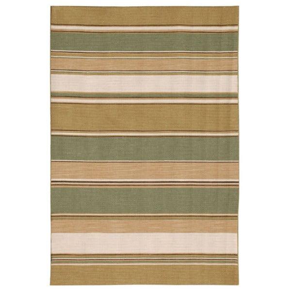 Flat-weave Stripe Bronze Green Wool Rug (3' x 5')