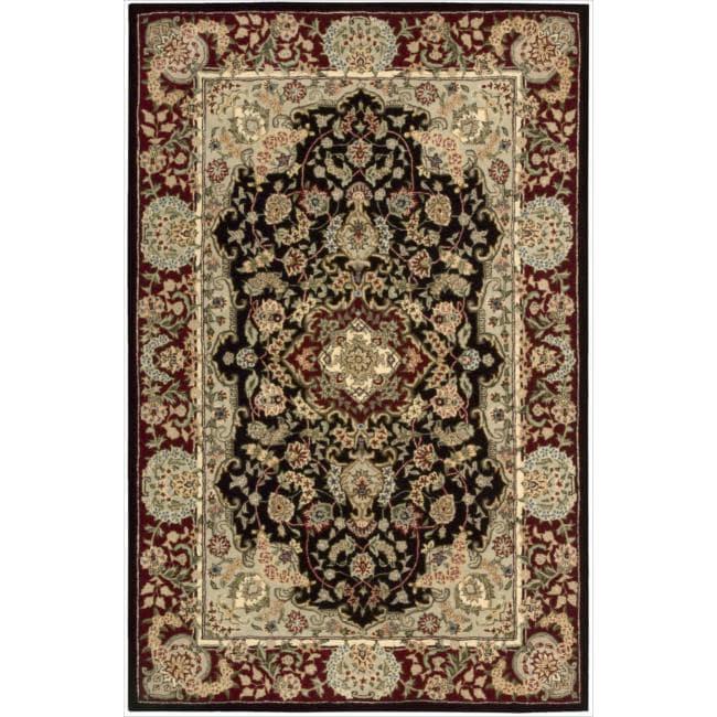 "Nourison 2000 Hand-Tufted Tabriz Traditional Black Rug (3'9"" x 5'9"")"