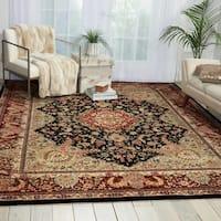 "Nourison 2000 Hand-Tufted Tabriz Traditional Black Rug (3'9"" x 5'9"") - 3'9 x 5'9"