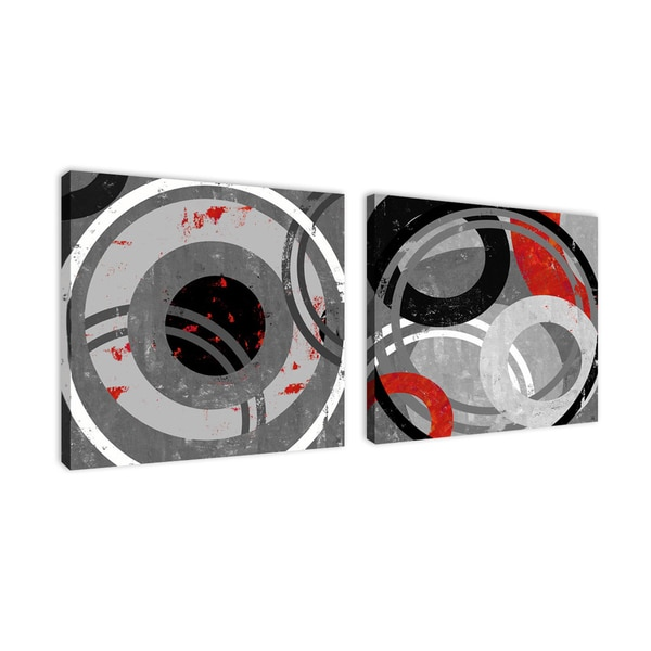Ankan 'Abstract Target Set' Gallery-wrapped Canvas Art Set