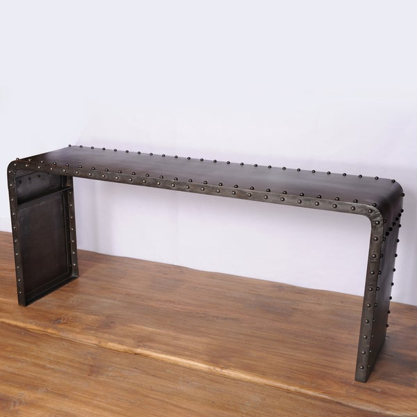 Manali Waterfall Old Iron Lacquer Console Table (India)