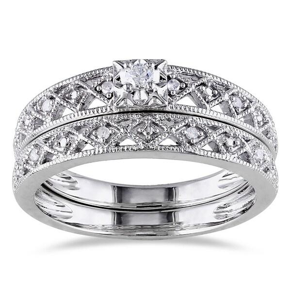 Miadora Sterling Silver 1/10ct TDW Vintage Diamond Filigree Bridal Ring Set (G-H, I2-I3)