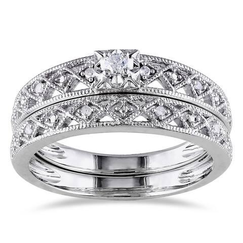 Miadora Sterling Silver 1/10ct TDW Vintage Diamond Filigree Bridal Ring Set - White