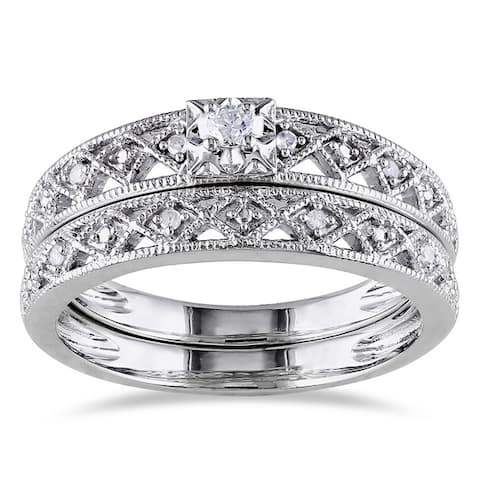 Miadora Sterling Silver 1/10ct TDW Vintage Diamond Filigree Bridal Ring Set - White