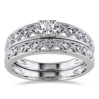 Miadora Sterling Silver 1/10ct TDW Vintage Diamond Filigree Bridal Ring Set