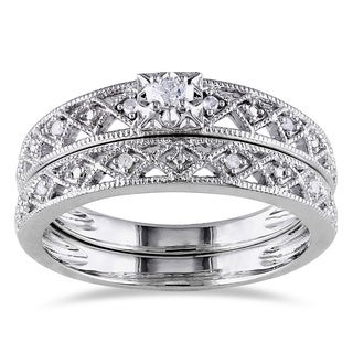 Miadora Sterling Silver 1/10ct TDW Vintage Diamond Filigree Bridal Ring Set