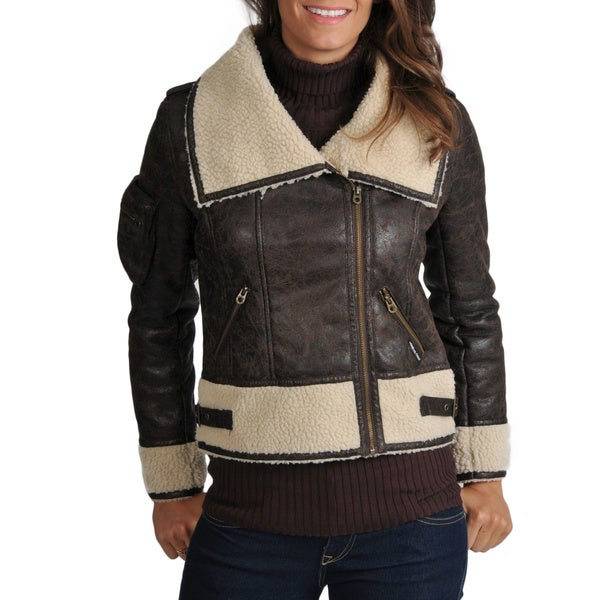 Members Only Women's Maddy Faux Shearling Flight Jacket