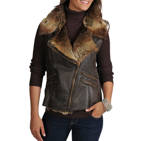 Members Only Women's Natalie Faux Shearling Asymmetrical Zip Moto Vest