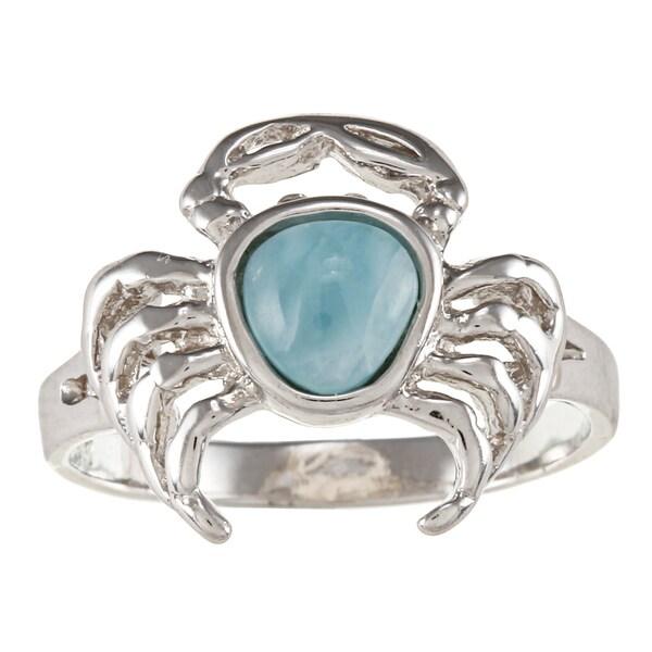 Sterling Silver Larimar Gemstone Crab Ring
