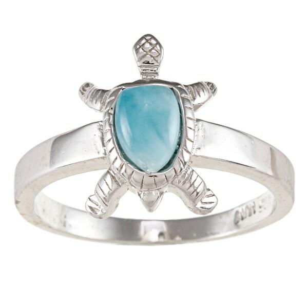 Sterling Silver Larimar Gemstone Turtle Ring