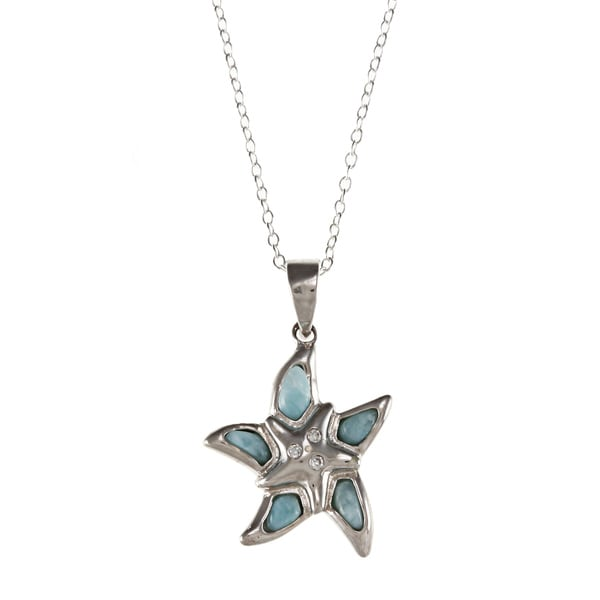 Sterling Silver Larimar Gemstone and Cubic Zirconia Starfish Necklace