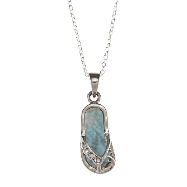Sterling Silver Larimar Gemstone and Cubic Zirconia Flip-flop Necklace
