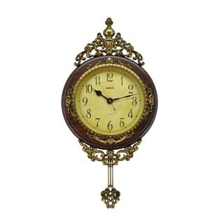 "Antique Style Pendulum 24"" x 15"" Wall Clock Classic Home Decor"