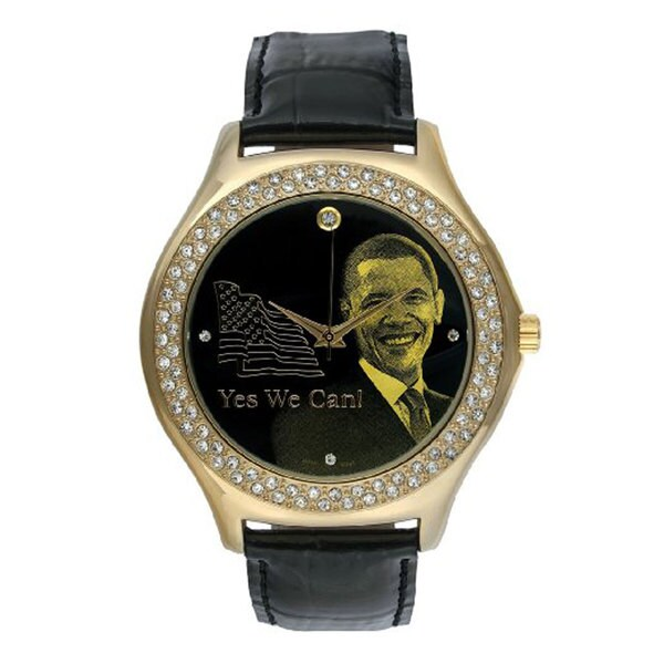 Barack Obama BO-2192 Men's Black Leather Strap Inauguration Watch