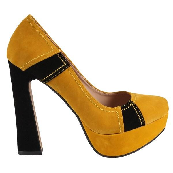 Machi by Beston Women's 'Candies-2' Chunky Heel Pumps