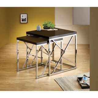 Black Chrome Finish Nesting End Side Table Stand (Set of 2)