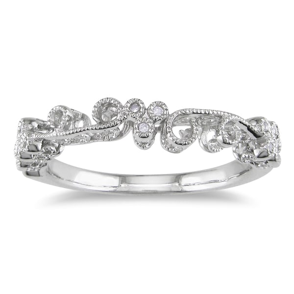 Miadora 10k White Gold Pave Set Diamond Ring