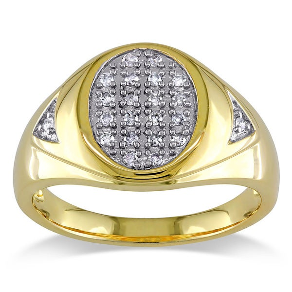 Miadora Sterling Silver Men's 1/4ct TDW Diamond Ring (H-I, I3)