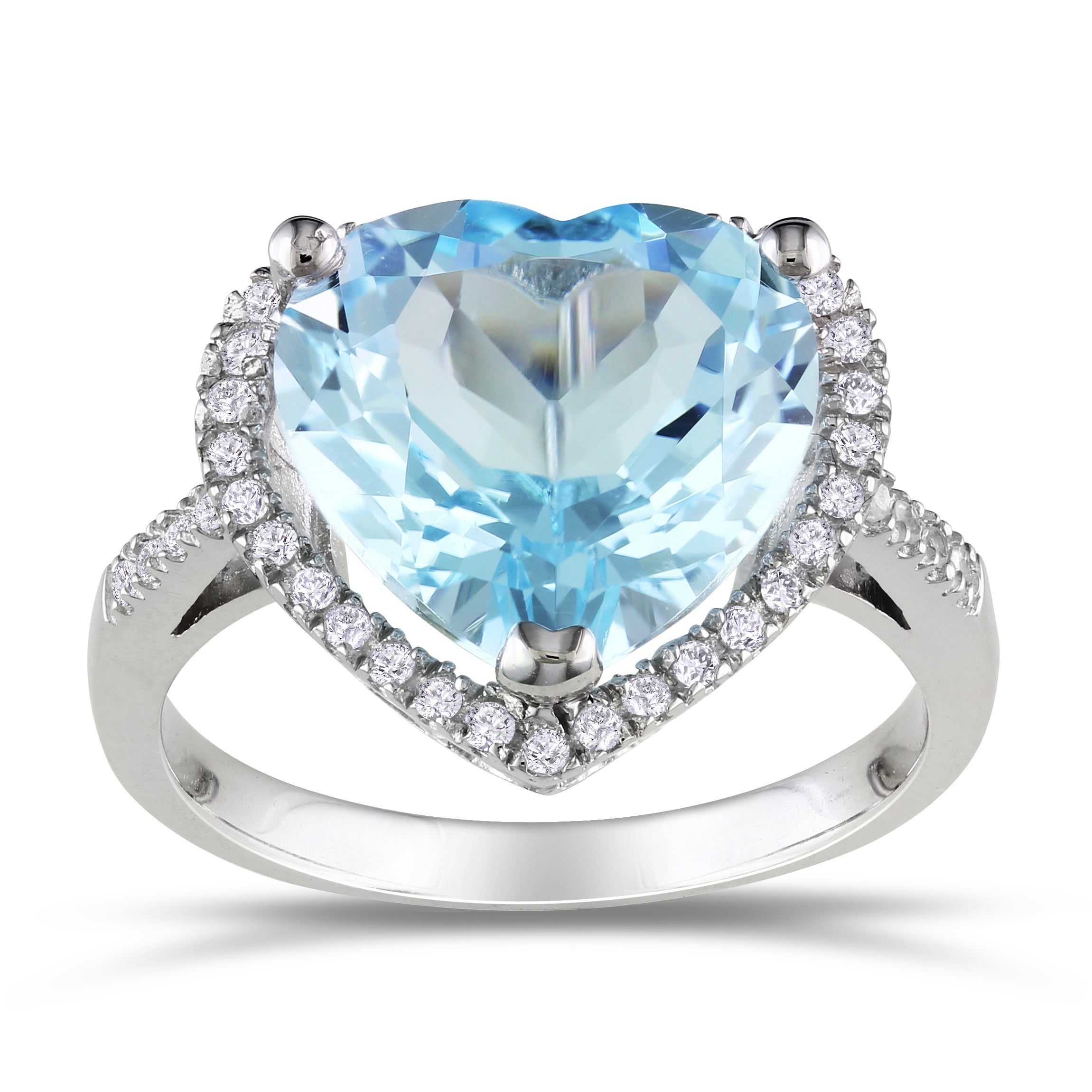 Miadora Sterling Silver Blue and White Topaz Heart Ring