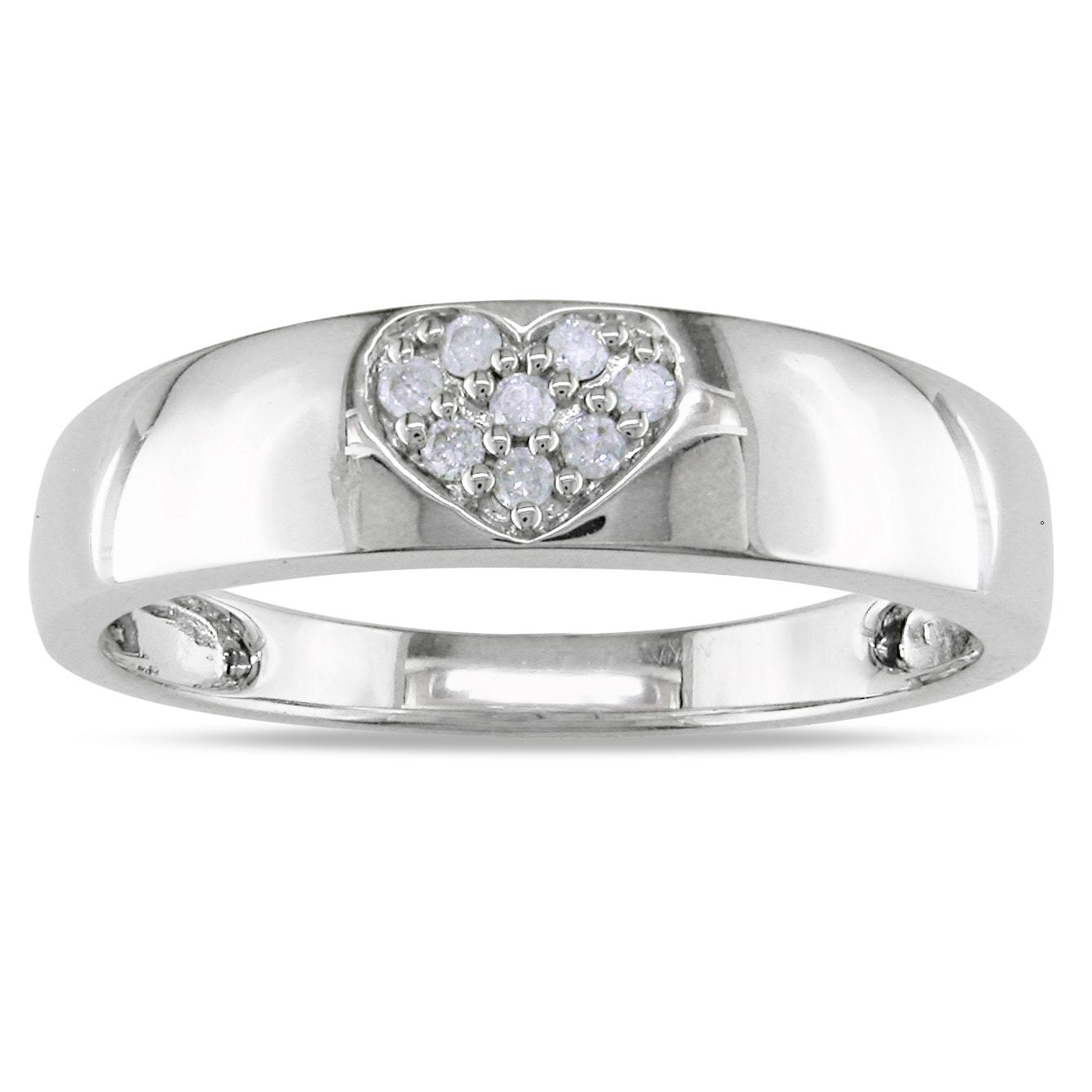 Miadora 14k White Gold Diamond Heart Ring