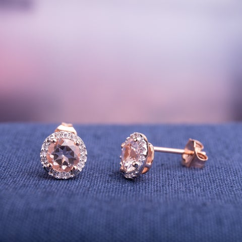 Miadora Rose Goldplated Sterling Silver Morganite and Diamond Accent Halo Stud Earrings