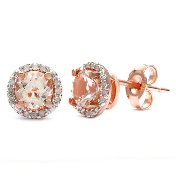 Rose Plated Sterling Silver Morganite and Diamond Halo Stud Earrings by Miadora