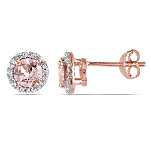 Miadora Rose Plated Sterling Silver Morganite and Diamond Accent Halo Stud Earrings