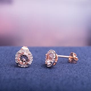 Miadora Rose Plated Sterling Silver Morganite and Diamond Accent Halo Stud Earrings|https://ak1.ostkcdn.com/images/products/7256190/P14734754.jpg?impolicy=medium